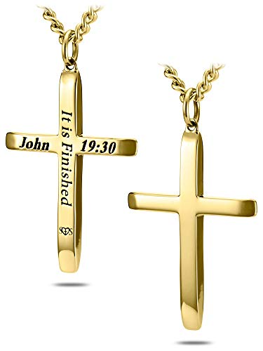 Men's Gold Stainless Steel Tapered Cross Necklace-John 19:30 ()
