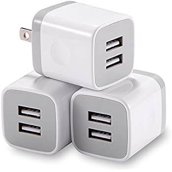 USB Wall Charger, LEEKOTECH 2.1Amp Universal Dual Port USB Wall Charger Plug Box foriPhone 8 7 6 6S Plus 5S 5 SE 4S, iPad, iPod and Samsung Phones(White 3-Pack)