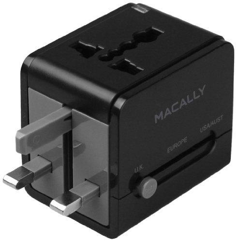 Macally LPPTCIIMP Universal International Compact Power Plug Adapter with USB Port
