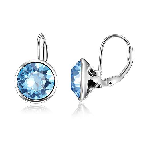 AOBOCO Sterling Silver Bella Earrings Leverback Pierced Earrings with Simulated Aquamarine Swarovski Crystal,Elegant Jewelry Gift for Women Girls