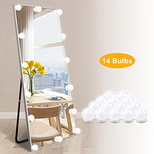 LED Vanity Lights for Mirror – Hollywood Style Makeup Vanity Lights with 14 Dimmable Light Bulbs for Makeup Dressing…