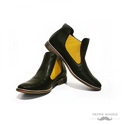 Peppershoes Model Rimini - Bottes Italiennes En Cuir Italien Fait Main Jaune Bottes Chelsea - Cuir Souple En Cuir - S'enfilent
