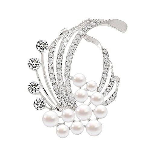 (Fashion coral pearl zircon brooch charm flowers brooch pins for women (Silver))