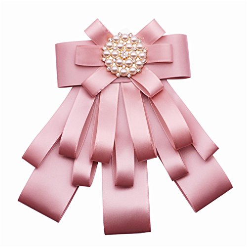 - Astral Ribbon Bow Brooches For Women Fabric Tie Corsage Shirt Dress Luxury Rhinestone Bowknot Pearl Brooch Pins Jewelry Accessories pink