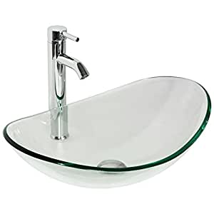 Walcut Clear Tempered Glass Bathroom Boat Vessel Sink Art