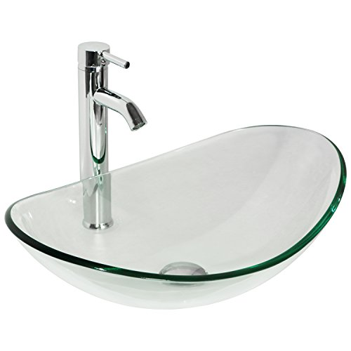 Walcut Clear Tempered Glass Bathroom Boat Vessel Sink Art Basin and Faucet Combo w/Chrome Pop Up Drain