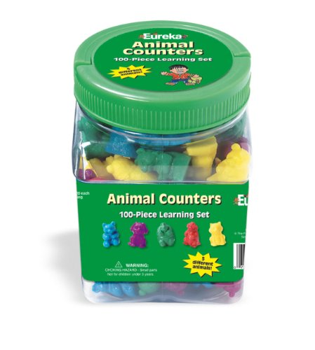 Eureka Classroom Supplies Learn to Count Counting Animals with Storage Tub, 100 pcs