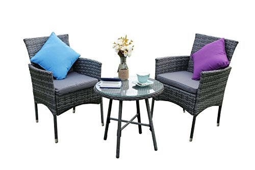 Yakoe Eton Range Bistro Set Garden Furniture Patio Sofa Chairs and Round Coffee Table Set for Outdoor or Conservatory - Grey (3-Piece)