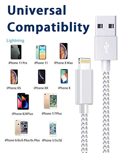iPhone Charger Cable, MFi Certified Lightning Cable 5 Pack Durable High-Speed iPhone Charger USB A Nylon Braided Cord Compatible with iPhone, Grey