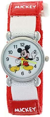 TimerMall Disney Cartoon Mickey Mouse Red Nylon Velcro Tape Quartz Kids Watches