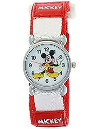 Disney Cartoon Mickey Mouse Red Nylon Velcro Tape Quartz Kids Watches