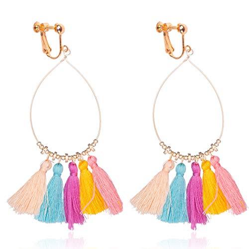 Non Earrings Pierced Fancy - Tassel Clip on Earrings for Women Bohemian Fan Tassel Drop Dangle Thread 2018 New Design Fringe Color
