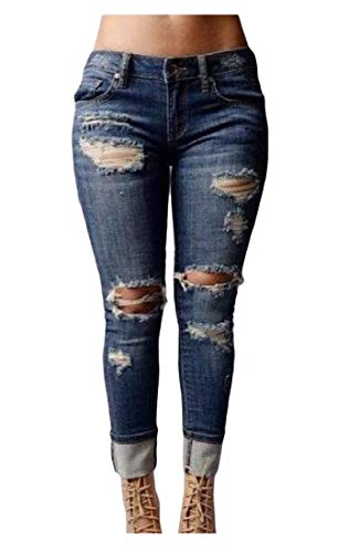 pipigo Women Slim Fit Low Waist Ripped Trousers Denim Jean Pants Royal Blue M