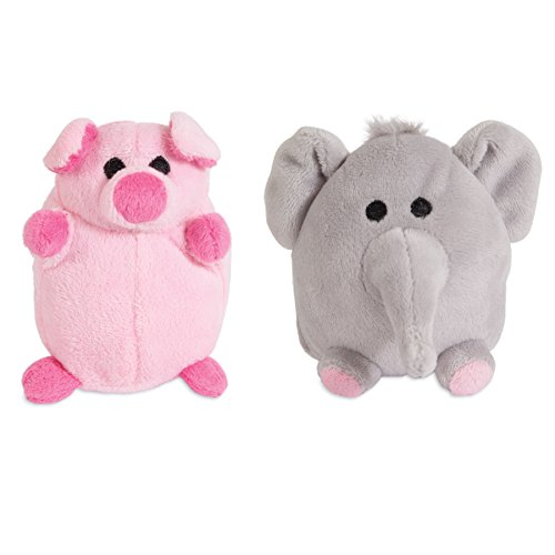 ZOOBILEE 32023 Mini Elephant & Pig Dog Toy (2 Pack)