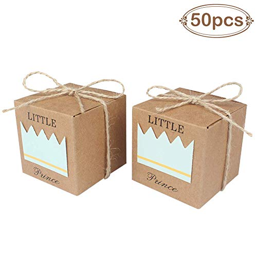 AerWo 50pcs Little Prince Baby Shower Favor Boxes + 50pcs Twine Bow, Rustic Kraft Paper Candy Bag Gift Box for Baby Shower Party Supplies Cute 1st Birthday Boy Decoration, Blue]()