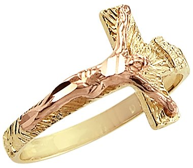 - Sonia Jewels Size- 7-14k Yellow and Rose Gold Cross Crucifix Jesus Ring