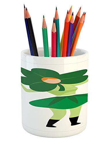 Ambesonne St. Patrick's Day Pencil Pen Holder, Lucky Lady with Clover Hat Costume Pattern, Printed Ceramic Pencil Pen Holder for Desk Office Accessory, Green Pale Green Orange Pistachio Green