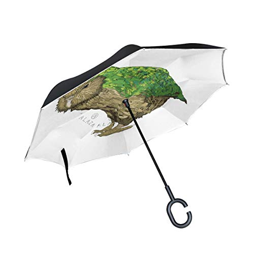 DKRetro Double Layer Kakapo New Zealand Bird Inverted Umbrellas- Reverse Folding Umbrella for Car, C-Shaped Handle Umbrella with Light Reflection ()