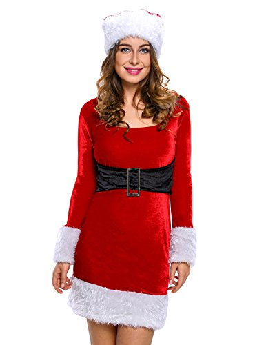 Quesera Women's Miss Santa Costume Deluxe Holiday Party Outfit Christmas Dress, Red, free size fit US 4-10