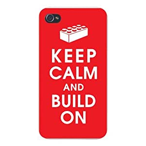Apple Iphone Custom Case 6 4.7 White Plastic Snap on - Keep Calm and Build On Kids Toy