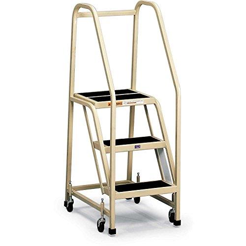 EGA Office Ladder 3-Step Rubber Surface, Gray, 450Lb. Capacity