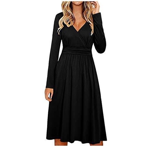 YOcheerful Solid Dress Women's Casual Long Sleeve V-Neck Dress Wrap Waist Casual Fashion Midi Dress Black