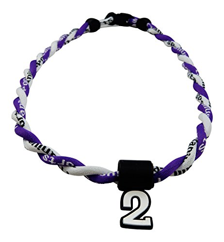 Pick Your Number - Twisted Titanium Sports Tornado Necklace (Purple White)