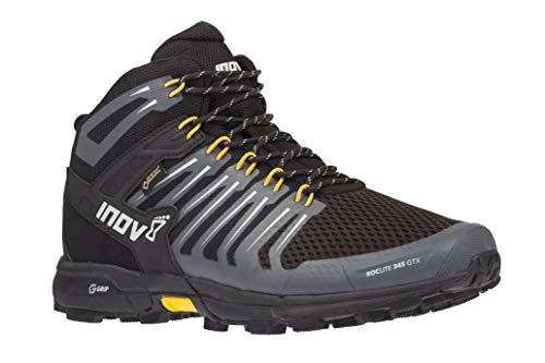 - Inov-8 Mens Roclite 345 GTX - Waterproof Gore Tex Hiking Boots - Lightweight - Vegan - Mid Boot Fit - Black/Yellow M8.5/ W10