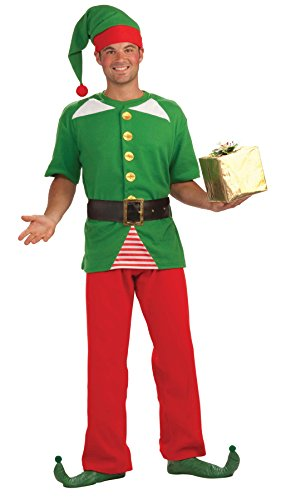 Forum Novelties Santa's Helper Jolly Elf Outfit Holiday Theme Fancy Dress Christmas Costume, OS (Up to ()