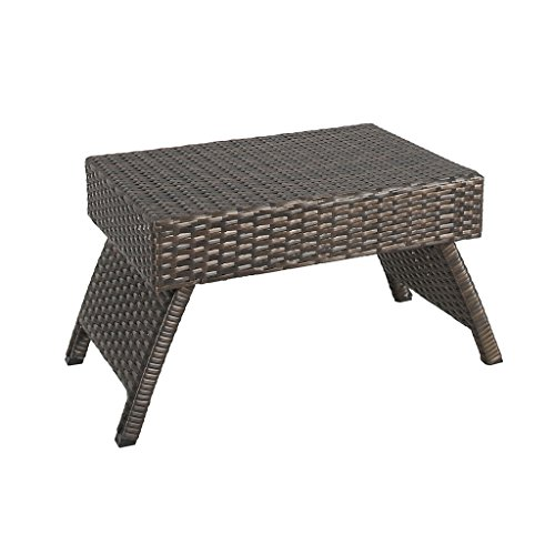 Iwicker Outdoor Patio Folding Wicker Side Table, Steel Frame, Brown (Wicker Side Table Outdoor)