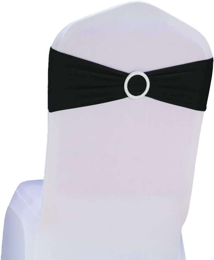 Bandeau de chaise élastique à enfiler avec boucle pour mariage nœud de chaise en Lycra , Noir , 50PC