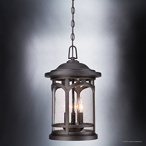 Luxury Rustic Outdoor Pendant Light, Large Size: 18''H x 11''W, with Colonial Style Elements, Wrought Iron Design, Oil Rubbed Parisian Bronze Finish and Seeded Glass, UQL1109 by Urban Ambiance by Urban Ambiance (Image #4)