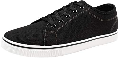 VOSTEY Men's Fashion Sneaker Canvas Casual Shoes Low Top Sneakers (9,Black)