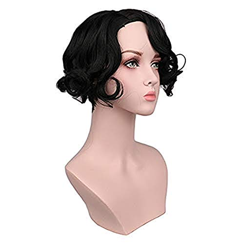 JYS Short Fluffy Wave Wigs Black Curly Synthetic Heat Resistant for Women Daily Halloween Cosplay Wig Natural As Real Hair ,US Warehouse Delivery]()