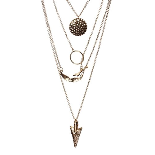 Balakie Women Multilayer Crystal Gold Wing Arrow Round Pendant Chain Statement Necklace