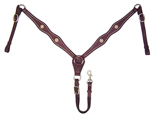Tahoe Tack USA Leather Caballero Star Concho Western Breast Collar, Full Horse Size