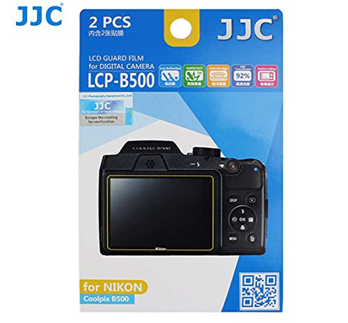 JJC LCP-B500 Anti-Reflection LCD Guard Film Screen Protector for Nikon Coolpix B500, Nikon B500 LCD Protector, Scratch Resistance, Anti-Smudge Coating (2 Pieces)