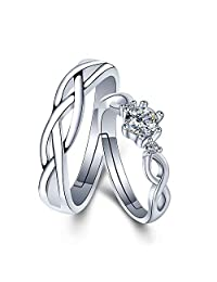 CHuir Wedding Couple Rings for Him and Her, Adjustable Celtic Knot Promise Ring Set