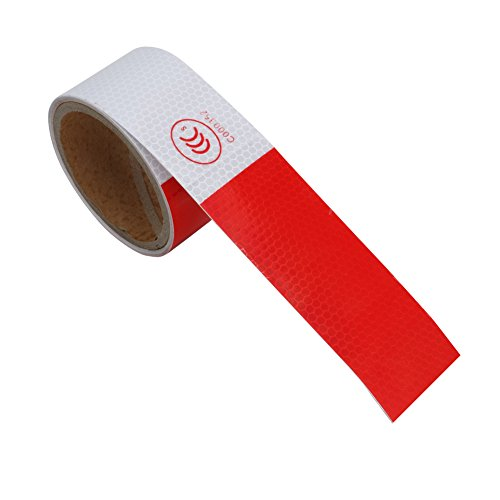 "Kangnice New 2""X10' 3M Reflective Safety Warning Conspicuity Tape Film Sticker Multicolor (Red+White)"