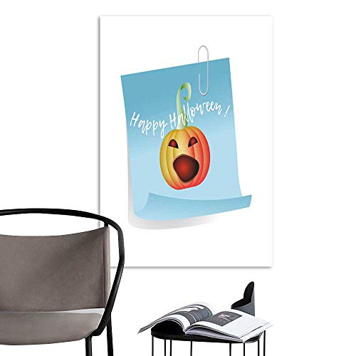 UHOO Art Print Paintings ModernHappy Halloween Sheet of Note Paper with Pumpkin .jpg Living Room Wall Decor and Home Décor 24
