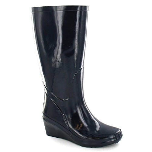 Wellington Navy Ladies Boots Womens Heel On Rubber Wedge Spot qvpHaYxwH