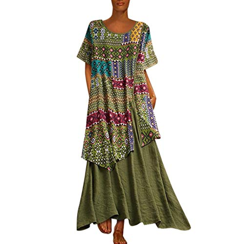 Women Vintage Plus Size Short Sleeve Maxi Dress Boho Printed Patchwork Long Dress - Doctor T-shirt Juniors
