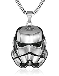 Star Wars Jewelry Unisex Storm Trooper 3D Stainless Steel Chain Pendant Necklace, 24""