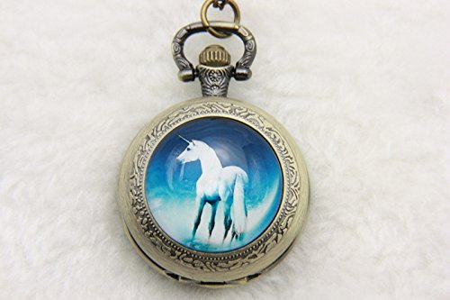 White Unicorn Picture,Unicorn Pocket Watch,Unicorn Neckla...