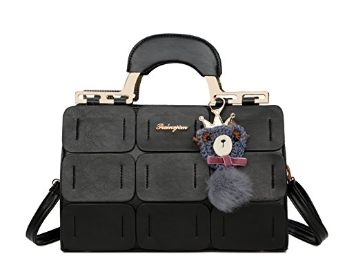 Pahajim The new Boston bag for women PU leather women top handbag shoulder bag - Handbag Boston Black