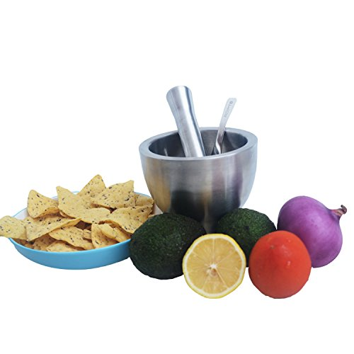 ROPT Mortar and Pestle Set 5'' - 2 cup capacity - Molcajete Grinder - Silicone Anti-slip Protector And Stainless Steel Spoon Scraper by ROPT