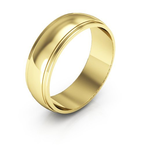 18K Yellow Gold men's and women's plain wedding bands 6mm half round edge, 6 by i Wedding Band