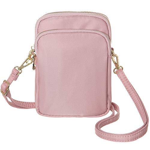 MINICAT Nylon Small Crossbody Bags Cell Phone Purse Smartphone Wallet For Women (Pink-RFID Blocking)