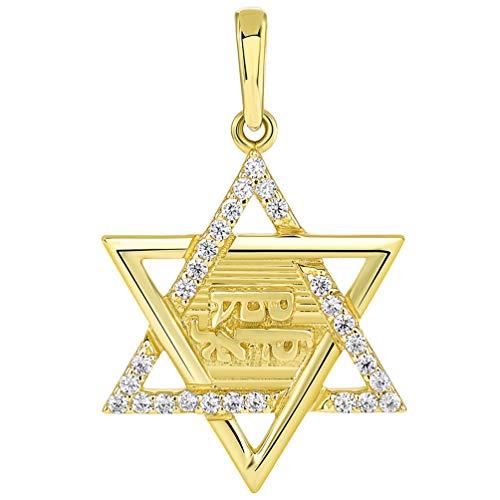 14k Gold Torah Pendant - Solid 14K Yellow Gold Hebrew Shema Yisrael CZ Star of David Pendant