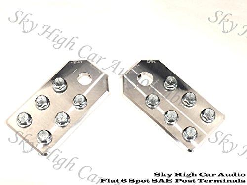 Pair of Sky High Car Audio SAE Post Any GA (6) Spot Flat BATTERY TERMINALS